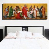 Canvas Schilderij Jezus en zijn 12 Discipelen - Kunst aan je Muur - Groot schilderij - Kleur  - 30 x 90 cm