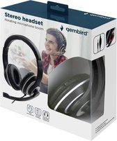 stereo headset met microfoon zwart