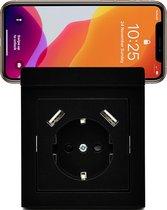 Homra Wondo USB stopcontact   Inbouw wandcontactdoos   Zwart   Met telefoonhouder