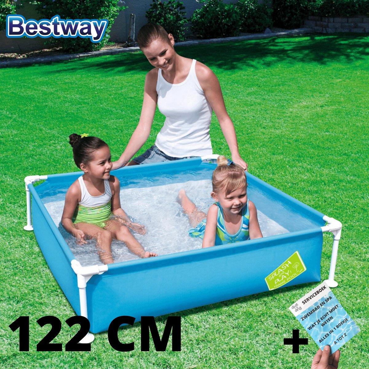 Mini Frame Zwembad Blauw 122 x 122 x 30 Kinderzwembad Opzetzwembad 122x122 cm Peuter Frame Zwembad Pierenbad van Bestway + Serviceboek DjustADing