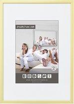Luxe Aluminium Wissellijst - Fotolijst - 60x80 cm - Helder Glas - Mat Champagne - 10 mm - Facetrandje