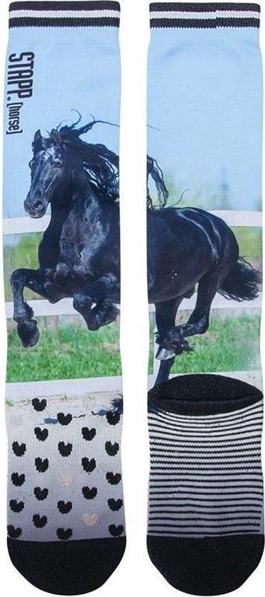 Stapp Horse Kniekous Black Horse Print - Ruiter sokken paarden print - mt 39/42