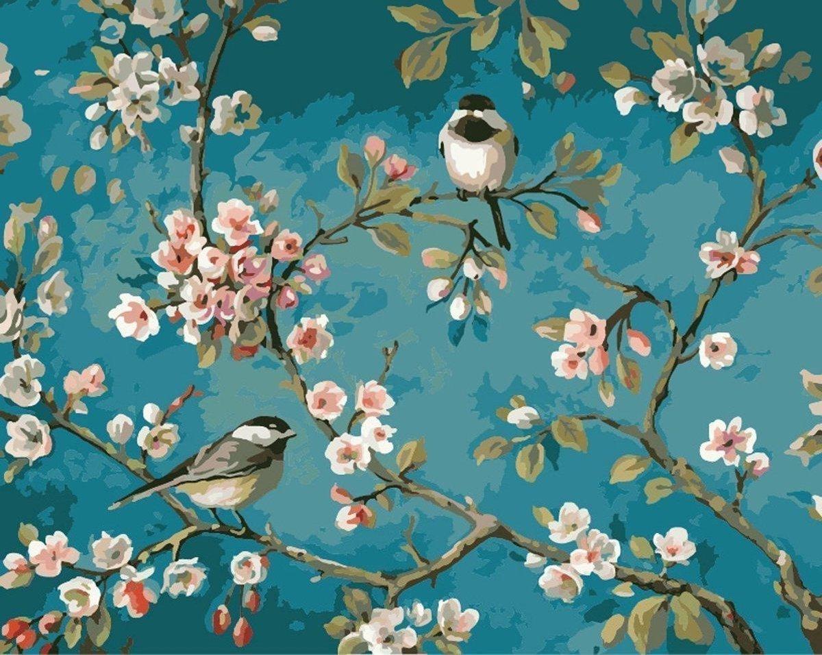 Happy Painter® Vierkante steentjes Diamond Painting volwassenen - Vrolijke vogels en bloemen - 40x30cm