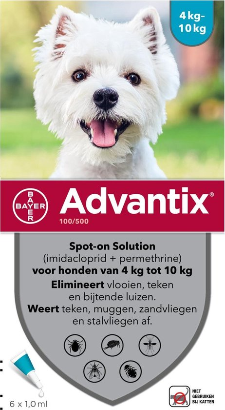 Advantix - 100/500 vlooien/teken - 6 pipetten