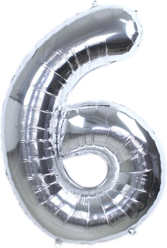 Folie Ballon Cijfer 6 Jaar Zilver 86Cm Verjaardag Folieballon Met Rietje