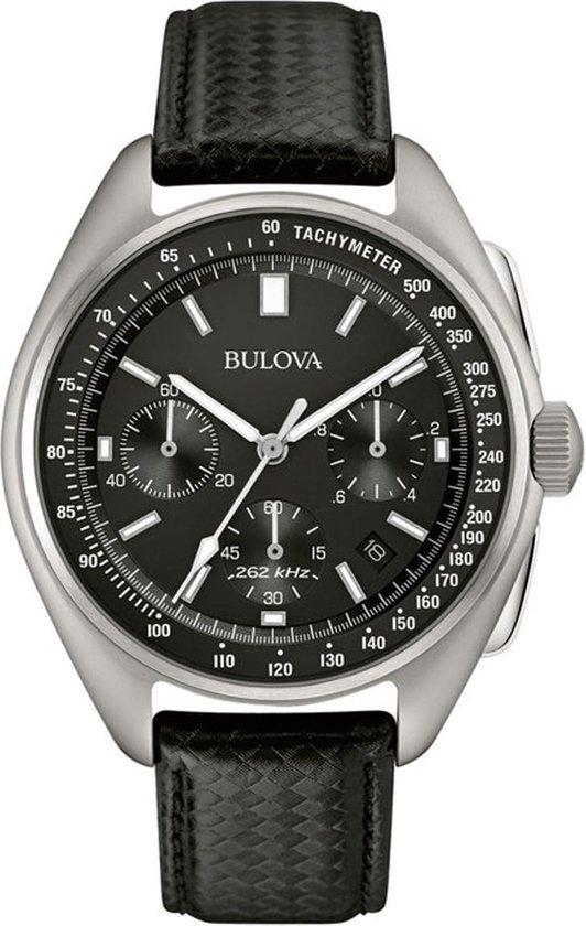 Bulova Lunar Pilot Horloge - Bulova heren horloge - Zwart - diameter 44 mm - roestvrij staal