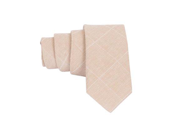 Premium Ties - Luxe Stropdas Heren Crème - Katoen - Inclusief Luxe Gift Box!