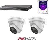HIKVISION ColorVu Camera beveiliging set, 4K 4-channel recorder incl 1TB WD Purple, 2x ColorVu 4MP Dome's 2.8mm  + beugels en gratis 50meter netwerkkabel.