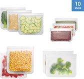 Siliconen Vershoudzakken | Diepvrieszakken | Set van 10 | Duurzaam | Herbruikbaar boterhamzakje | Mealprep