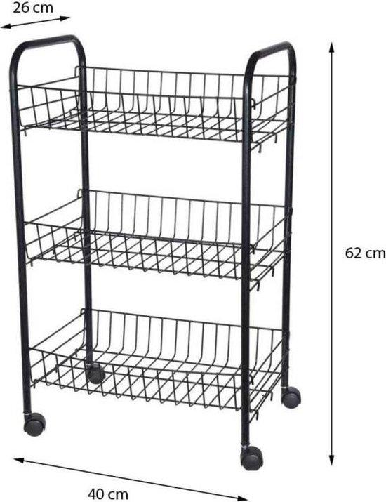 Keukentrolley 3 manden zwart 40x26x62