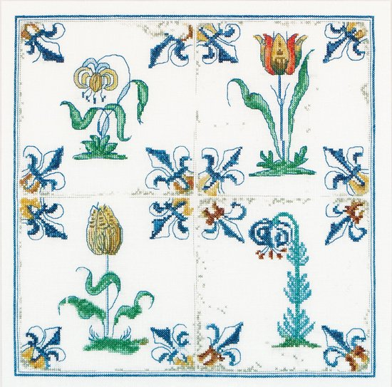 Thea Gouverneur - Borduurpakket met telpatroon - 485A - Voorgesorteerde DMC Garens - Delfts Blauwe Tegels Bloemen - Aida - 28 cm x 28 cm - DIY Kit