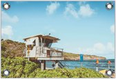 Tuinposter –Uitkijkhuisje op het Strand– 120x80 Foto op Tuinposter (wanddecoratie voor buiten en binnen)