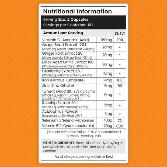 Vitamine C Complex capsules - Formule voor de weerstand voor volwassenen en kinderen - 120 Vegan Capsules