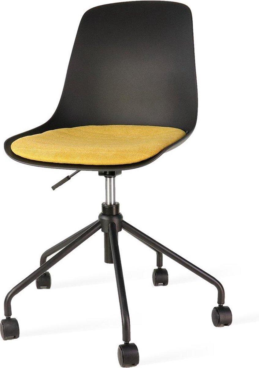 Nolon Nout bureaustoel zwart - Zwarte zitting en okergeel zitkussen