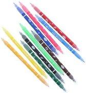 Viltstiften met dubble punt , 10 stuks rood-roze-oranje-geel-groen-donkergroen-lichtblauw-donkerblauw-bruin-zwart