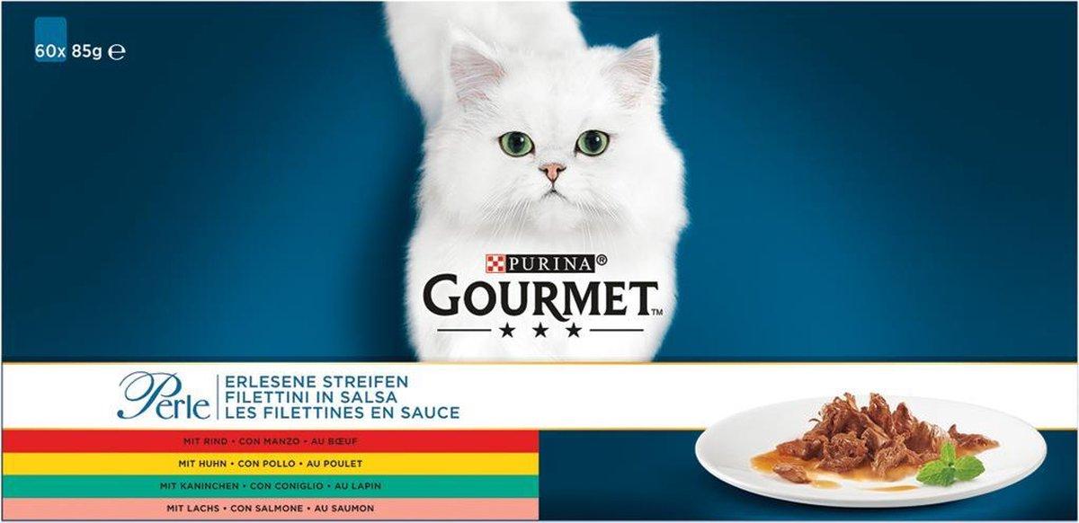 Gourmet Perle Mini Filets - Kattenvoer Kip, Konijn, Rund & Zalm - 60 x 85 g