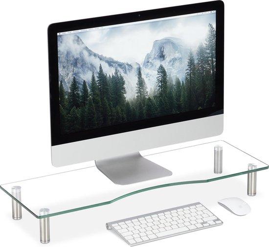 relaxdays monitor verhoger glas - monitorstandaard - beeldschermverhoger - tv verhoging Groot
