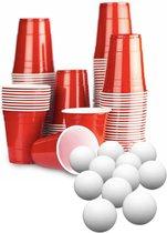 100 Beer Pong Red Cups + 5 ping pong ballen met Spelregels - American rode Bier Pong compleet spel
