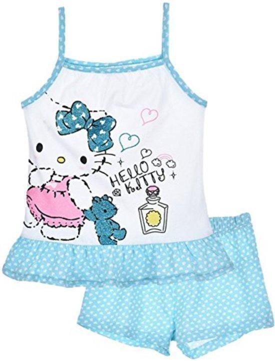 """Hello Kitty - 2-delige Topje-set - Model """"Ready For Bed"""" - Blauw & Wit - 98 cm - 3 jaar"""