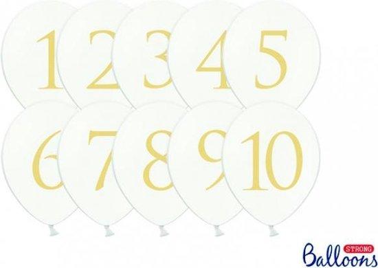 Ballonnen wit met opdruk cijfers 1-10