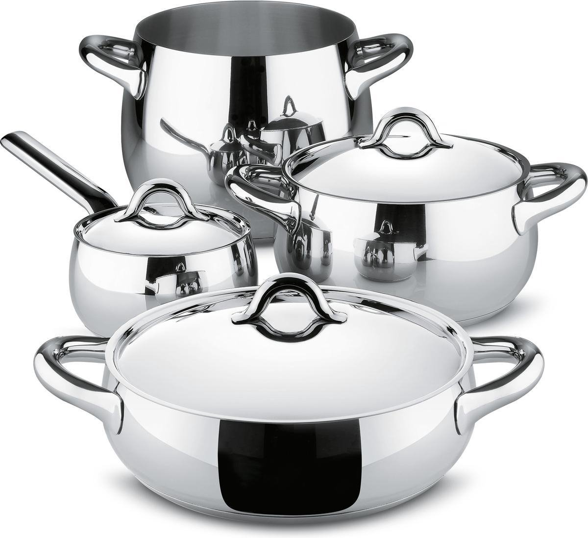 Afbeelding van product Alessi Mami Pannenset - 4-delig - RVS