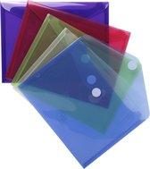 10x Pak van 5 Envelop tassen - PP met klittenband sluiting 24x18cm A5, Geassorteerd