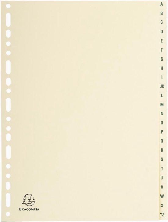 10x Tabbladen karton 155g - 24 tabs - A tot Z - A4, Ivoor