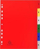 20x Tabbladen met bedrukte tabs in gekleurde PP - 6 tabs - 1 tot 6 - A4 maxi, Geassorteerde felle kleuren