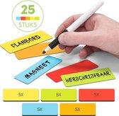 2DOBOARD Herschrijfbare Balk Whiteboard Magneten - 7,5 x 2,5 cm - 25 Stuks - Mix: 5 kleuren - Planbord kinderen - Weekplanner kind - Planbord kind - Weekplanner Whiteboard - Weekplanner kinderen