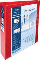 10x Ringmap Kreacover PP personaliseerbaar - 2 vakken - 4D-ringen 40mm - A4 maxi, Rood
