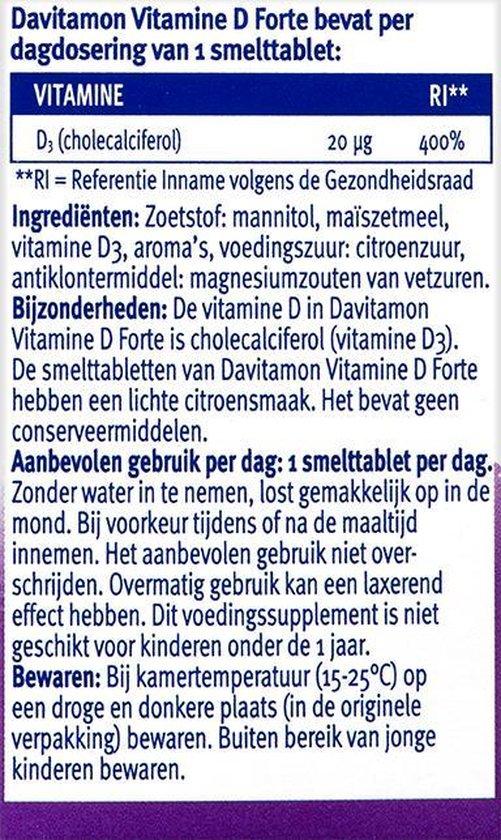 Davitamon Vitamine D3 - Vitamine D Supplement - Forte Smelttablet 75 stuks - Voedingssupplement