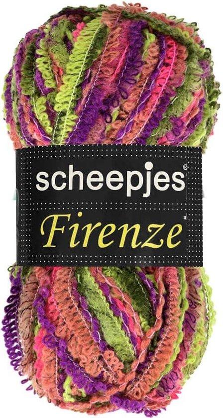 AANBIEDING: SCHEEPJES FIRENZE MULTI 004 Groen, Paars, Roze. PAK MET 10 BOLLEN a 100 GRAM. INCL. Gratis Digitale vinger haak en brei toerenteller