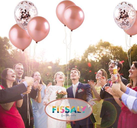 Fissaly® 40 stuks Rose Goud Helium Ballonnen met Lint – Decoratie – Confetti – Latex