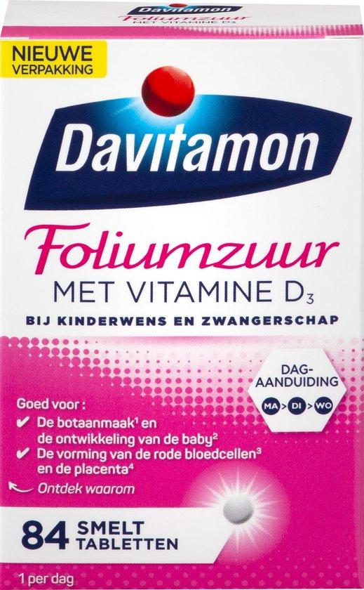 Davitamon Foliumzuur Vitamine D Zwangerschap Voedingssupplement - 84 smelttabletten