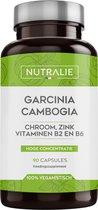 NUTRALIE Garcinia Cambogia 60% HCA voor Afvallen | Vetverbranders met Chroom, Zink, Vitamine B2 en B6 | 90 Vegan Capsules