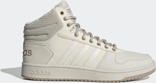 adidas Hoops 2.0 Mid Heren Sneakers - Raw White/Raw White/Trace Khaki F17 -  Maat 40 2/3