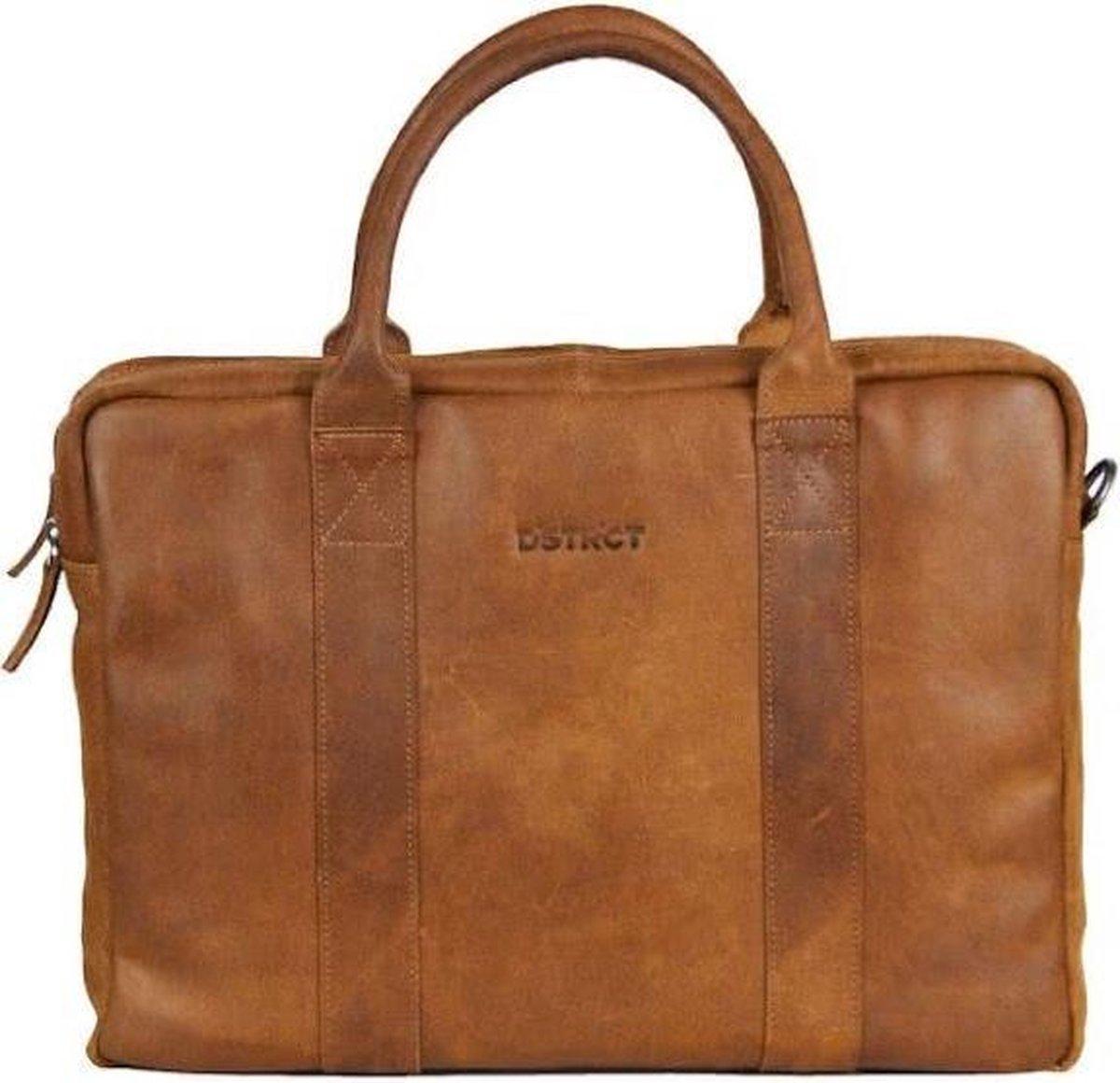 DSTRCT Limited Leren Business Laptoptas - 15,6 inch laptopvak met rits - Sleutelhanger - Cognac