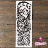 GetGlitterBaby - Plak Tattoo Sleeve / Tijdelijke Tattoos / Nep Tatoeage - Doodshoofd