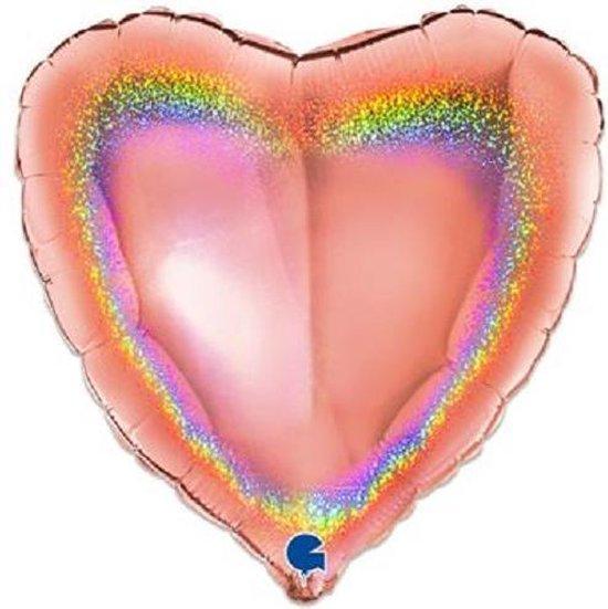 Folieballon hart glitter rosé goud (46cm)