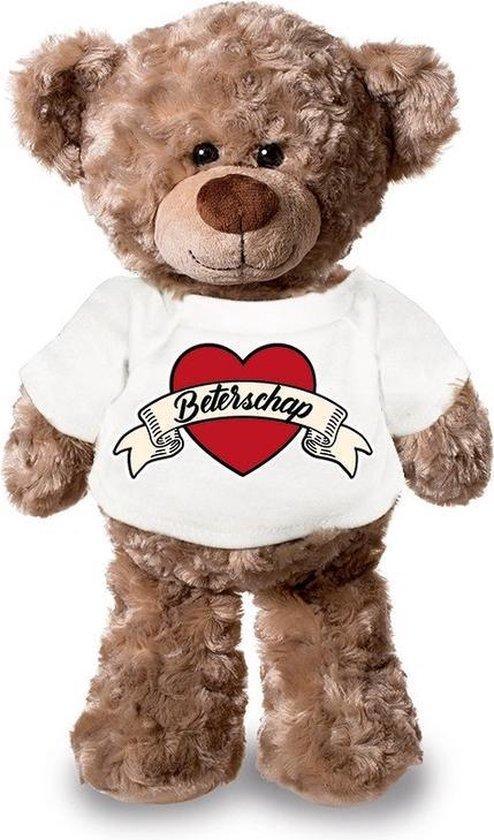 Beterschap pluche teddybeer knuffel 24 cm met wit t-shirt - beterschap / cadeau knuffelbeer