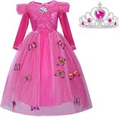 Prinsessen jurk verkleedjurk 116-122 (120) fel roze Luxe met vlinders + kroon verkleedkleding