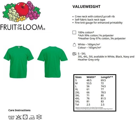 6 Pack Fruit Of The Loom Ronde Hals 160 Gsm Valueweight Witte T-shirts Xxl