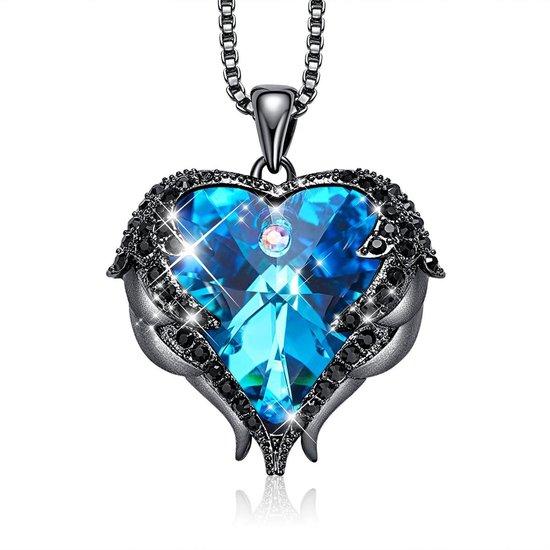 Blauwe Engel Vleugel Kettingen voor vrouwen Love Swarovski Hart Pendant Hanger - Ketting 43cm +5cm