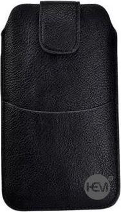 Nokia Lumia 435 Zwart Insteekhoesje met riemlus en opbergvakje