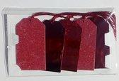 Cadeaulabels afm 5,5 x 10 cm rood glitter 20 stuks
