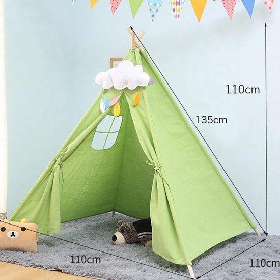 Speeltent Tipi Tent voor Jongens en Meisjes - Speelhuis Wigwam voor Kinderen met Mat en Vlaggetjes – 135x110 cm - Groen
