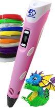 3D Teken Pen Speelgoed Starterset Roze – Tekenen en Knutselen voor Kinderen – 3D Knutselpakket met LCD Scherm en 12x3M Filamenten