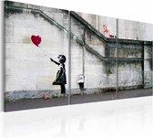 Schilderij - Banksy - Er is altijd hoop -  3luik , wanddecoratie , premium print op canvas
