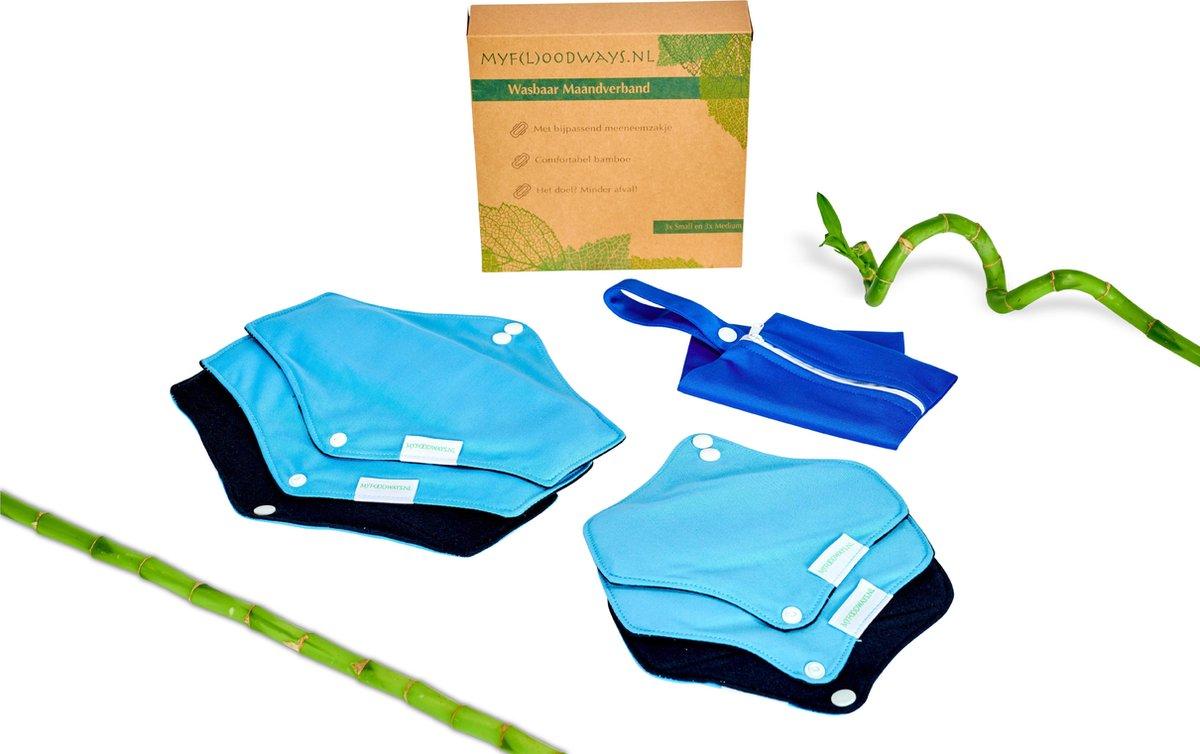 Set van 6: Bamboe wasbaar maandverband/Wasbare inlegkruisjes (BLAUW) met bijpassend tasje - 3x Mediu