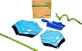 Set van 6: Bamboe wasbaar maandverband/Wasbare inlegkruisjes (BLAUW) met bijpassend tasje - 3x Medium en 3x Small - Plasticvrij verpakt! Herbruikbaar maandverband